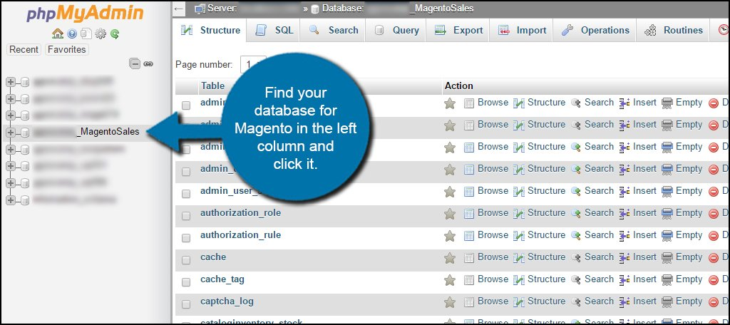 Click Magento Database