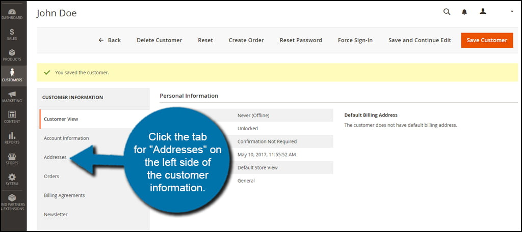 Customer Addresses Option