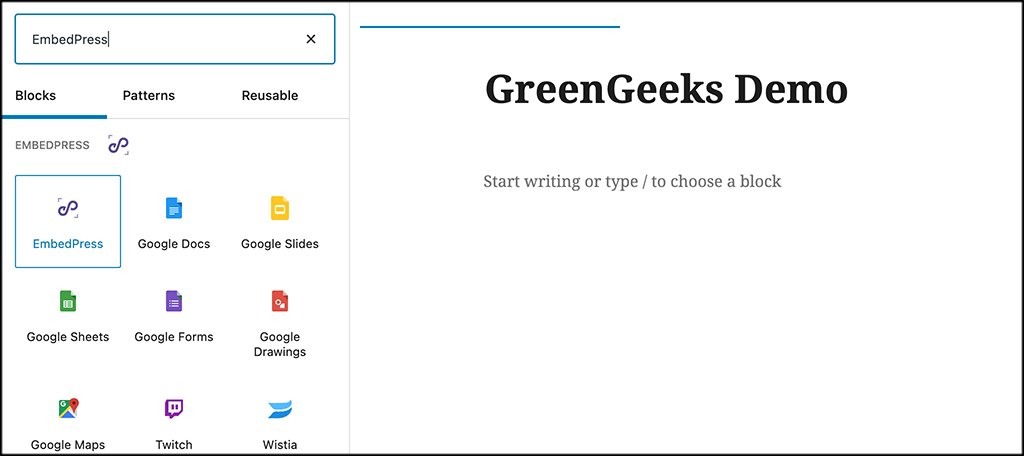 Search for the EmbedPress block