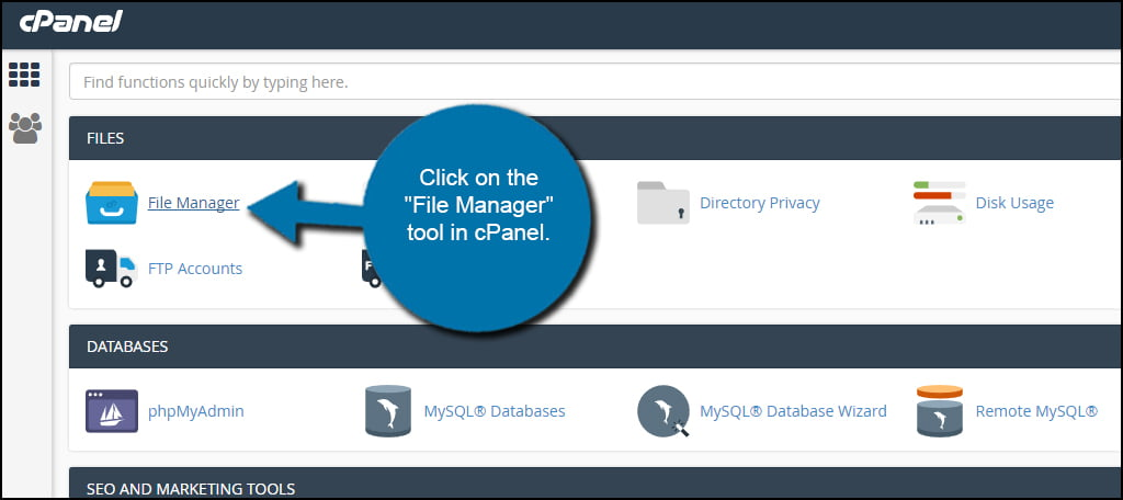File Manager cPanel Tool