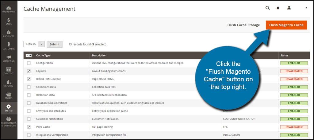 Flush Magento Cache