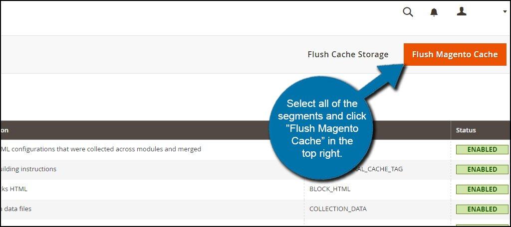 Flush Magento Cache Click