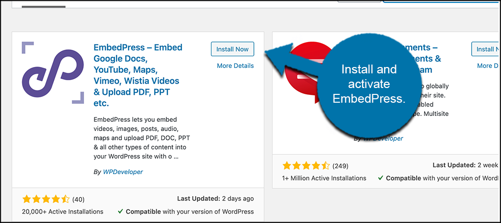 Install and activate EmbedPress