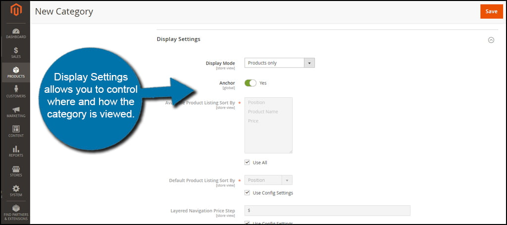 Magento Category Display Settings