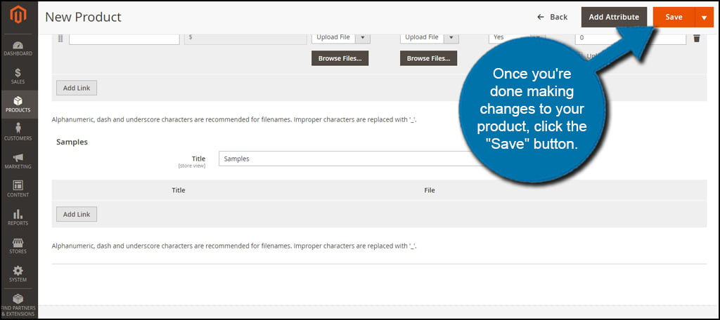 Magento Save Product