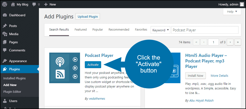 click to activate the WordPress Podcast Player plugin