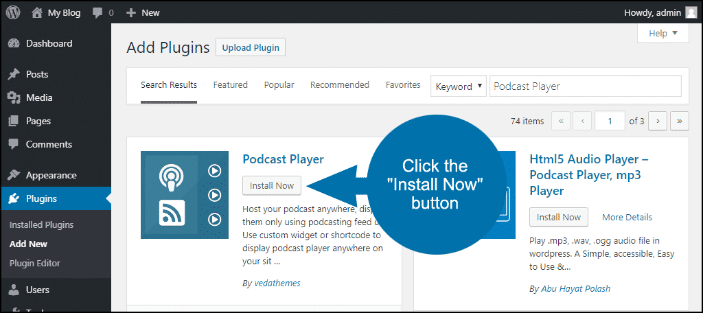 click to install the WordPress Podcast Player plugin