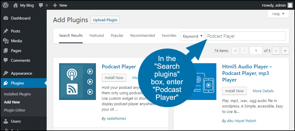 search for the WordPress Podcast Player plugin