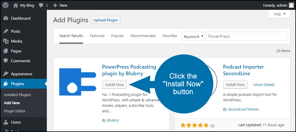 click to install the WordPress PowerPress plugin