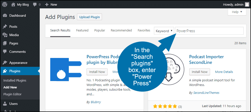 search for the WordPress PowerPress plugin
