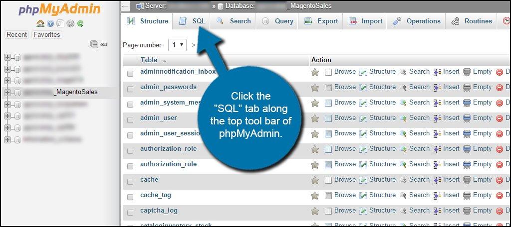 SQL Tab phpMyAdmin