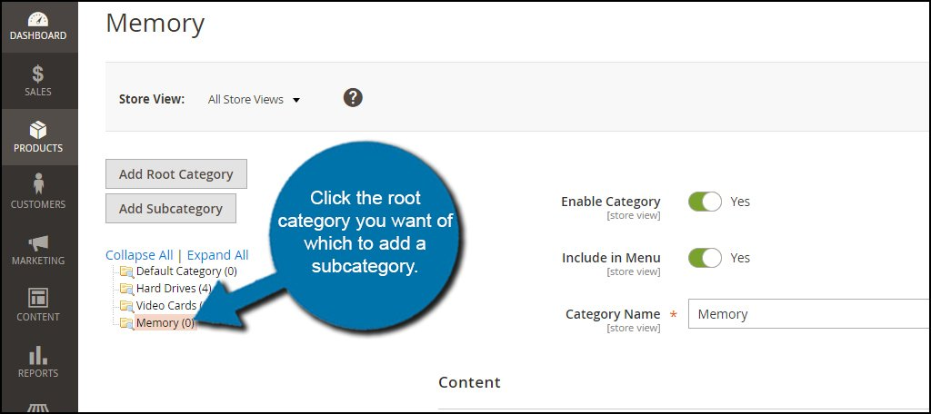 Select Root Category