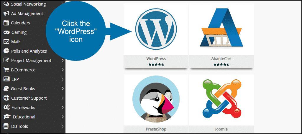 click the WordPress icon