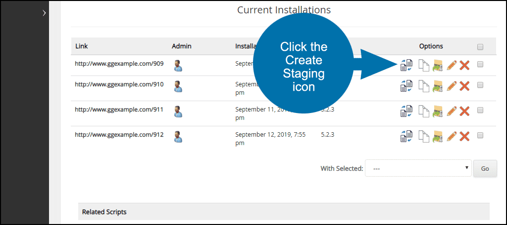 "click the ""Create Staging"" icon"
