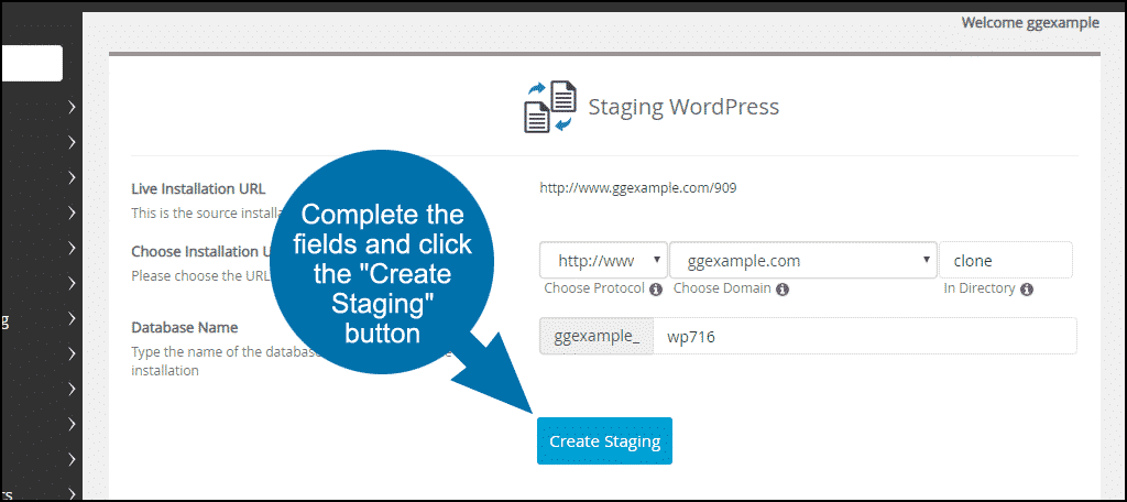 "click the ""Create Staging"" button"