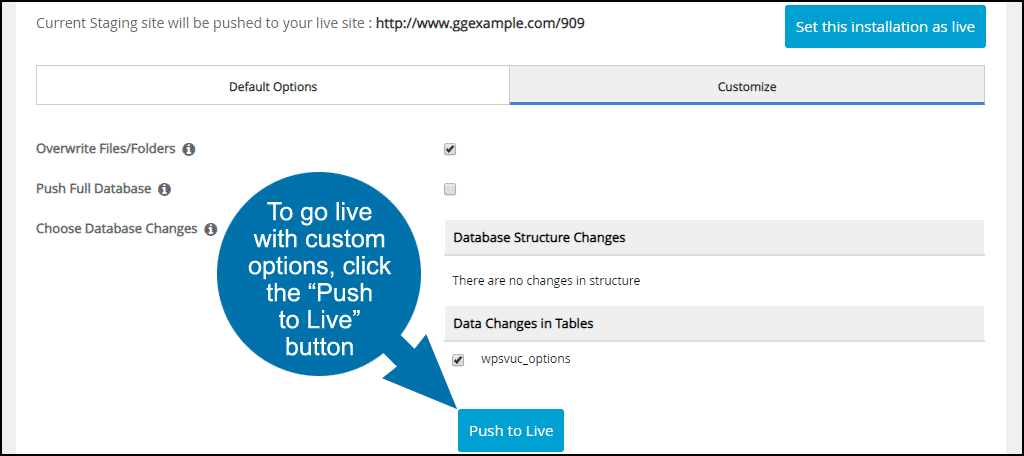 go live with custom options