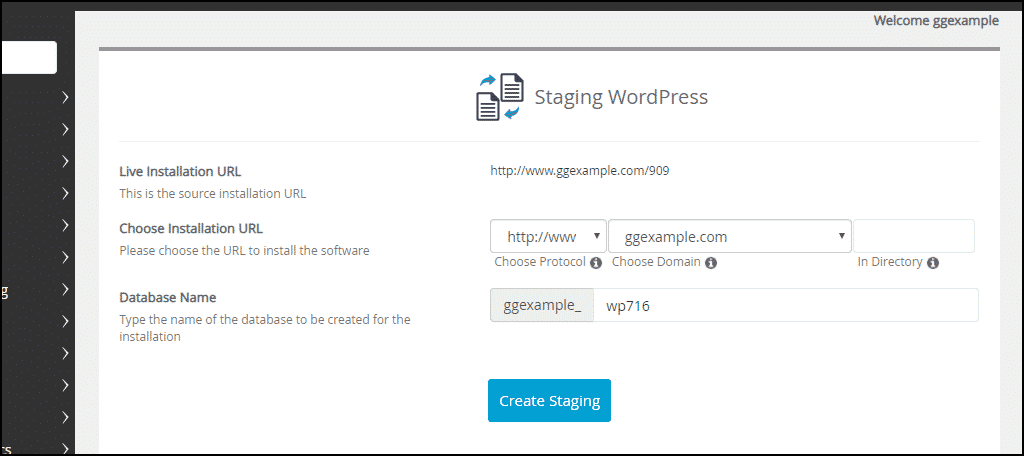 staging WordPress options