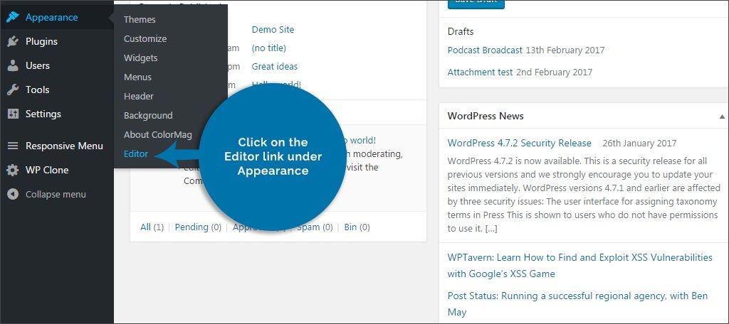 click editor link
