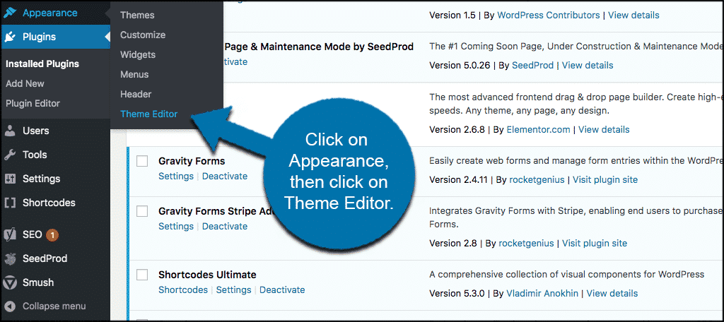 Click appearance and then theme editor