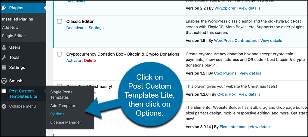 Click on post custom templates lite then on options