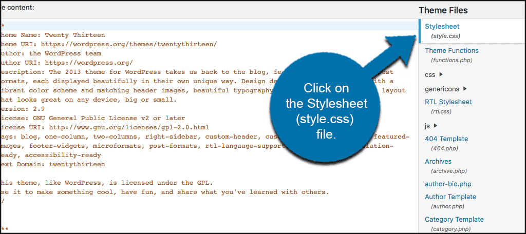 Click the stylesheet file