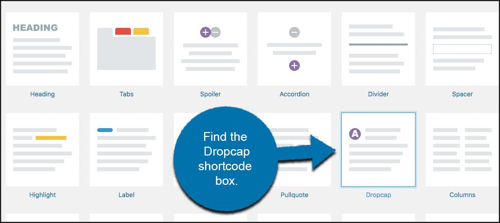 Drop cap shortcode box