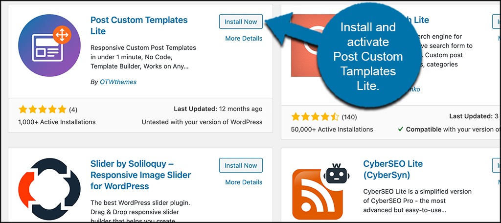 Install and ativate post custom templates lite