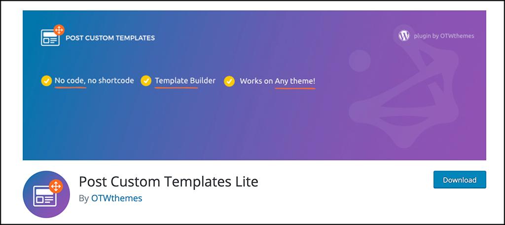 Post Custom Templates Lite Plugin