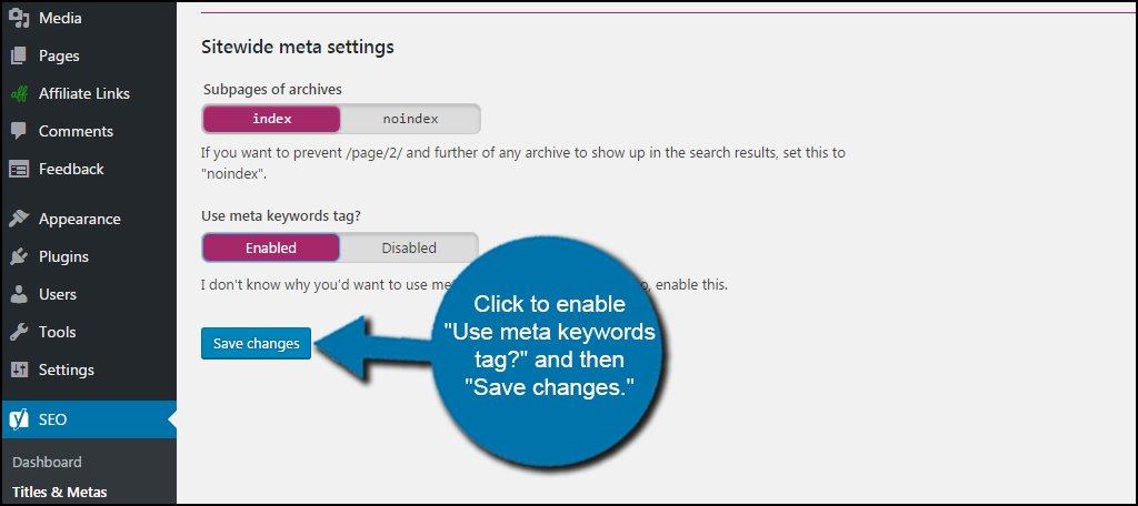 Save Keyword Meta Tag