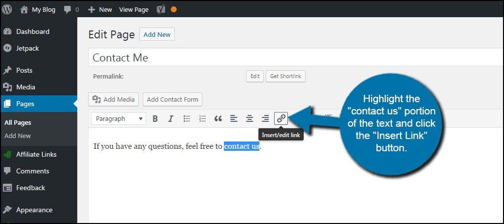 WordPress Insert Edit Link