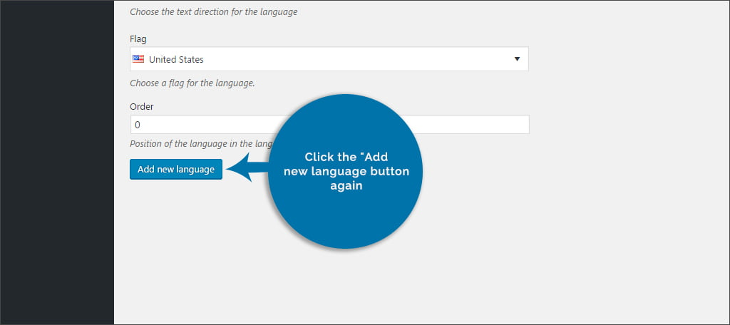 Click Add New Language Again