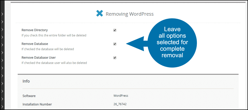 leave all options selected for complete removal