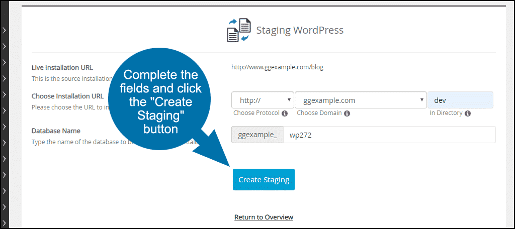 """lick the """"Create Staging"""" button"""