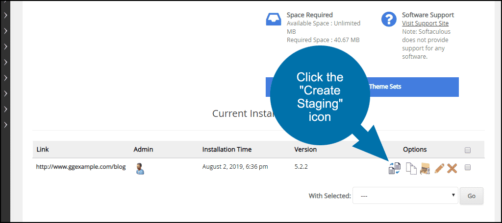 """click the """"Create Staging"""" icon"""