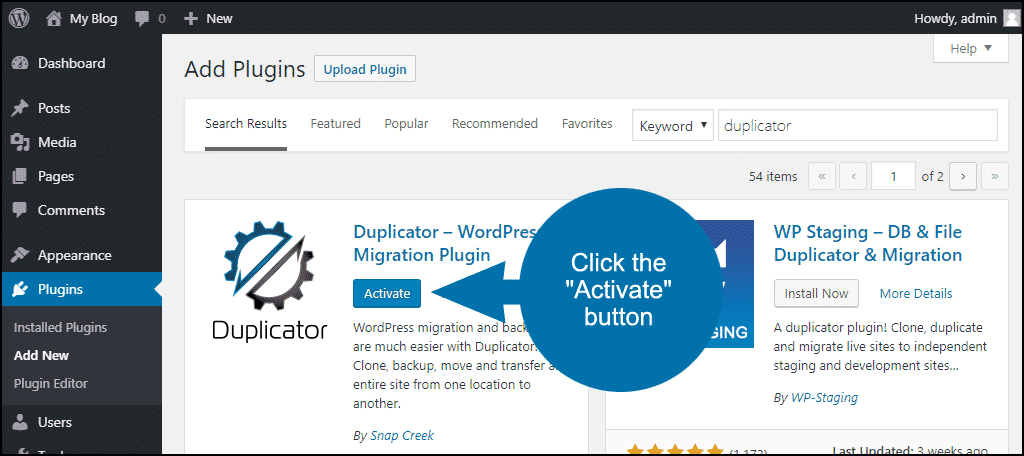 click to activate the WordPress Duplicator plugin