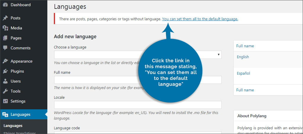 Set All To Default Language