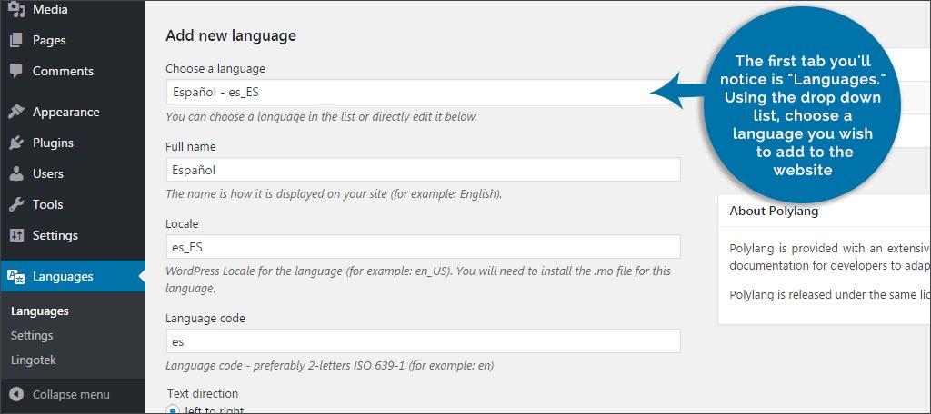 Language Tab