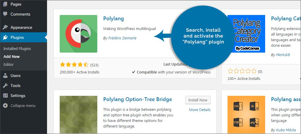 Search an Install Polylang Plugin