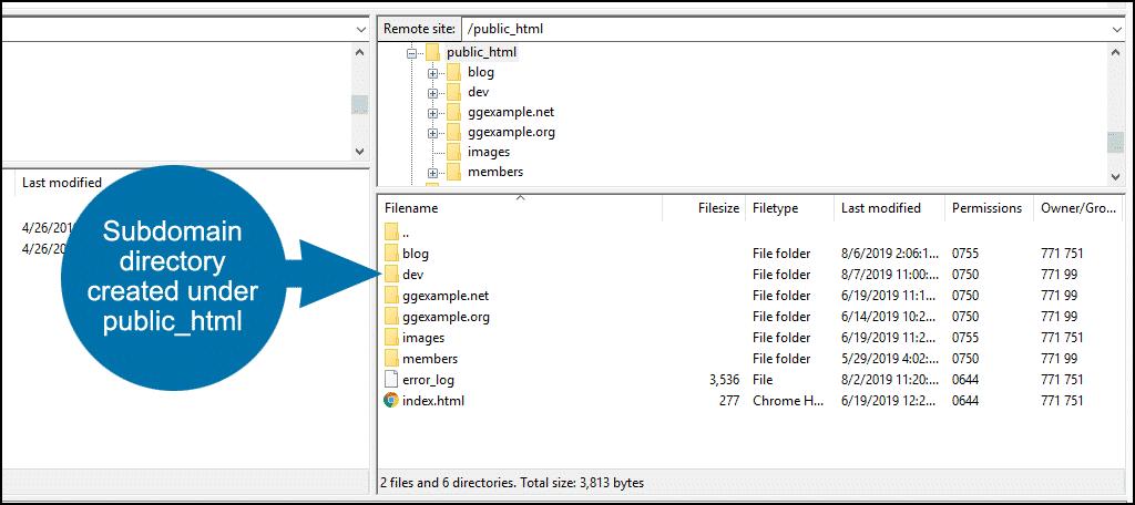 subdomain directory created under public_html