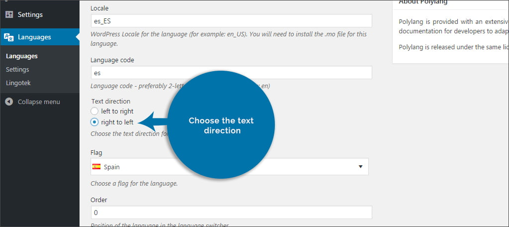 Choose Text Direction