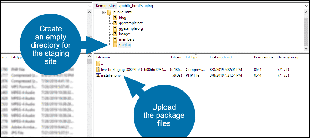 upload the Duplicator package files to the empty directory