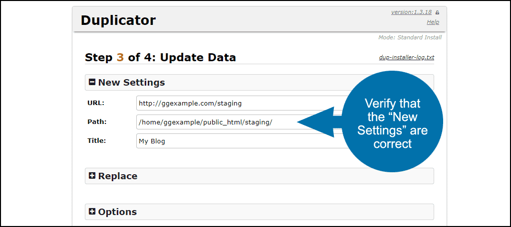 "verify that the ""New Setings"" information is correct"
