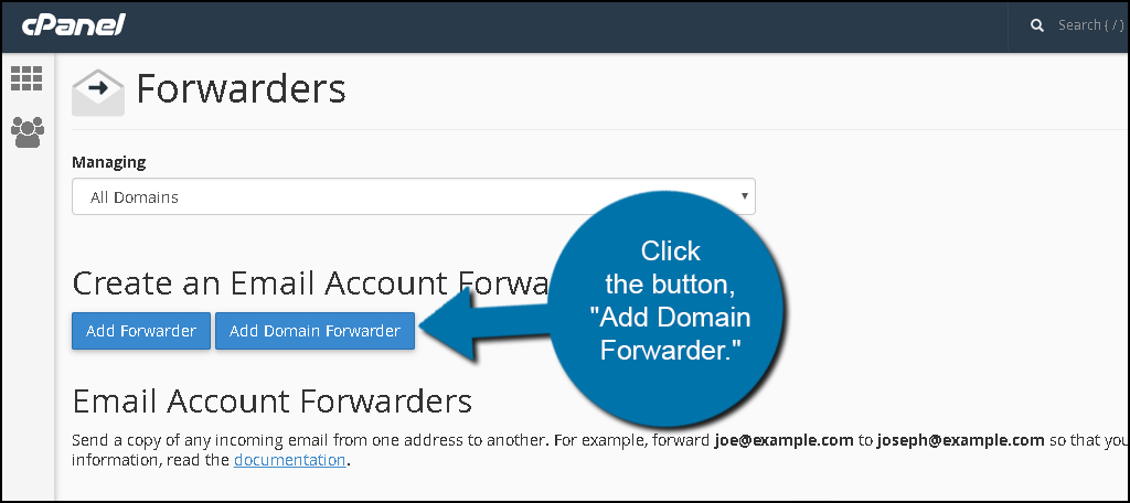 Add Domain Forwarder