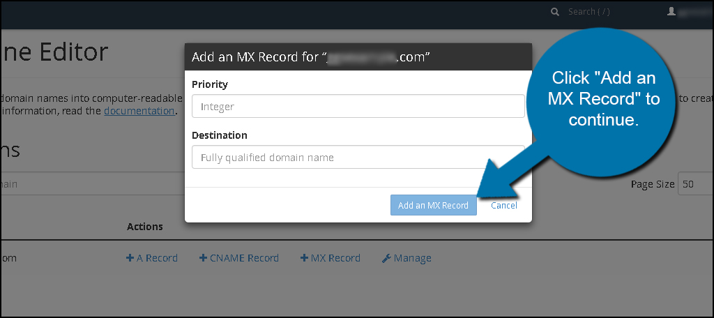 Add MX Record