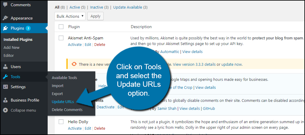 Click on Tools and select the Update URLs option.
