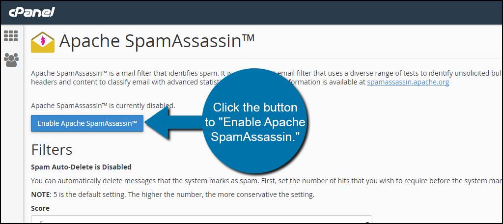 Enable Apache SpamAssassin