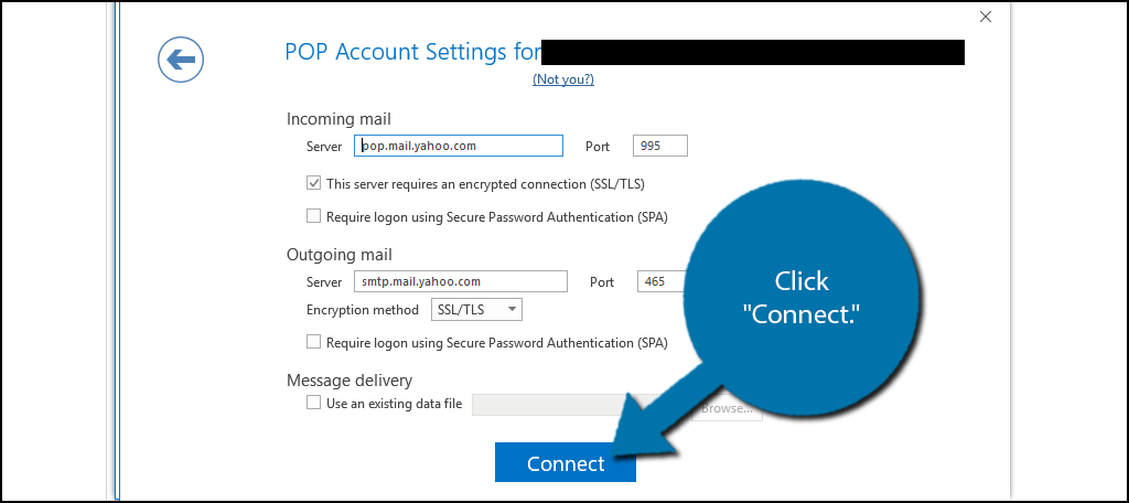 """Input your port encryption methods, password information and click """"Connect."""""""