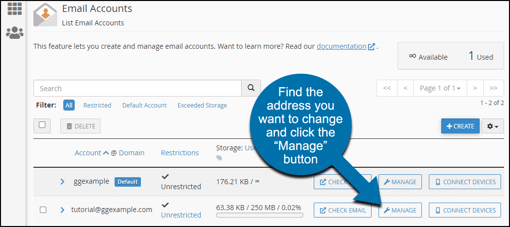 "click the ""Manage"" button"