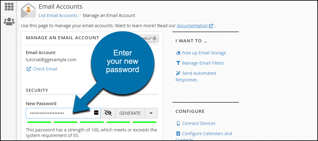 enter new email address password
