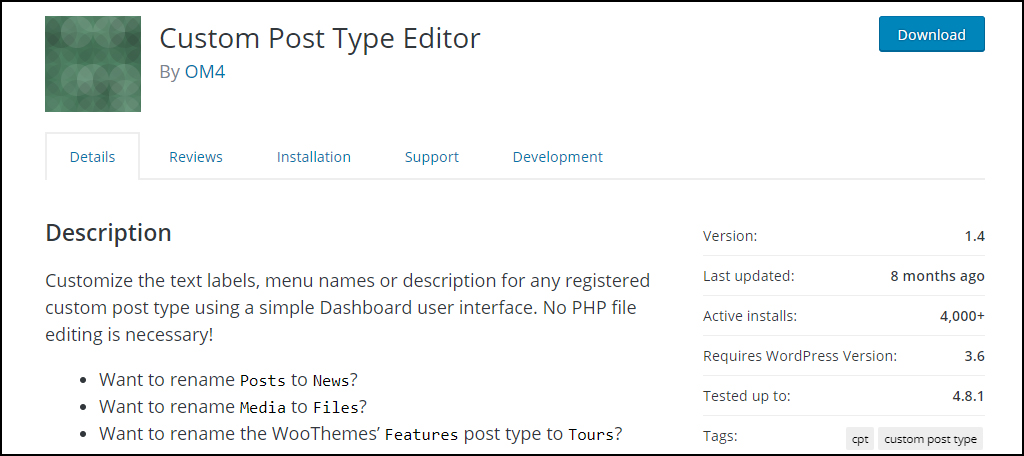 Custom Post Type Editor